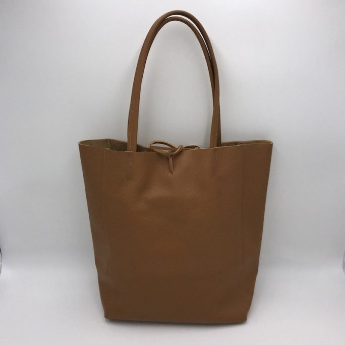 vista frontal bolso shopper piel